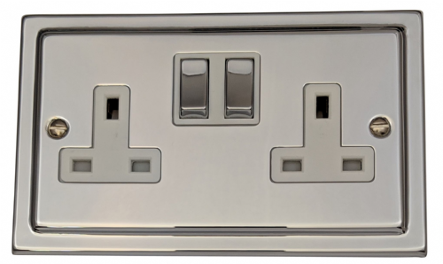 G&H TC210 Trimline Plate Polished Chrome 2 Gang Double 13A Switched Plug Socket
